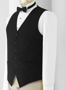Men's black wait staff vest. Women's black wait staff vest